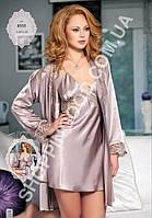 Шелковый комплект халат и ночная сорочка (пеньюар) Angel Story 8555