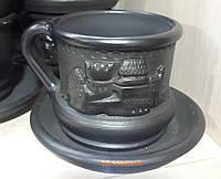 Чашка - філіжанка кавова замок з чорної кераміки на каву