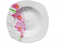 Тарелка 9 'суп квадратная Орхидея