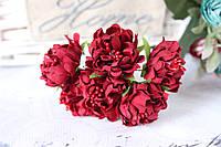Хризантема пышная 60 шт/уп. диаметр около 3,5 см диаметр бордового цвета оптом