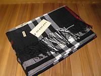 Шарф Burberry черный с бахромой, фото 1