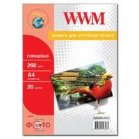 Фотобумага WWM глянцевая 260г/м кв , A4 , 20л (G260N.20/C) NEW