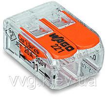 Клемма WAGO 221-412 на 2 контакта с нажимными рычагами