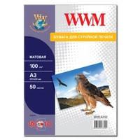 Фотобумага WWM матовая 100г/м кв , A3 , 50л (M100.A3.50)