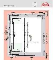 Поворотная фурнитура Roto NT 12/20-13 для ПВХ (550*1600)