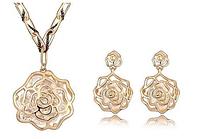 Элегантный комплект ювелирных изделий: Женские серьги + ожерелье - австрийский хрусталь 18K позолоченный