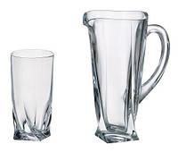 Набор стаканов и графин для воды Bohemia Quadro, стаканы 350 мл- 6штук, графин 700 мл (7 предметов) - b99999-99A44, 166088 /П1