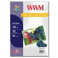 Фотобумага WWM матовая 180г/м кв , A3 , 20л (M180.A3.20)