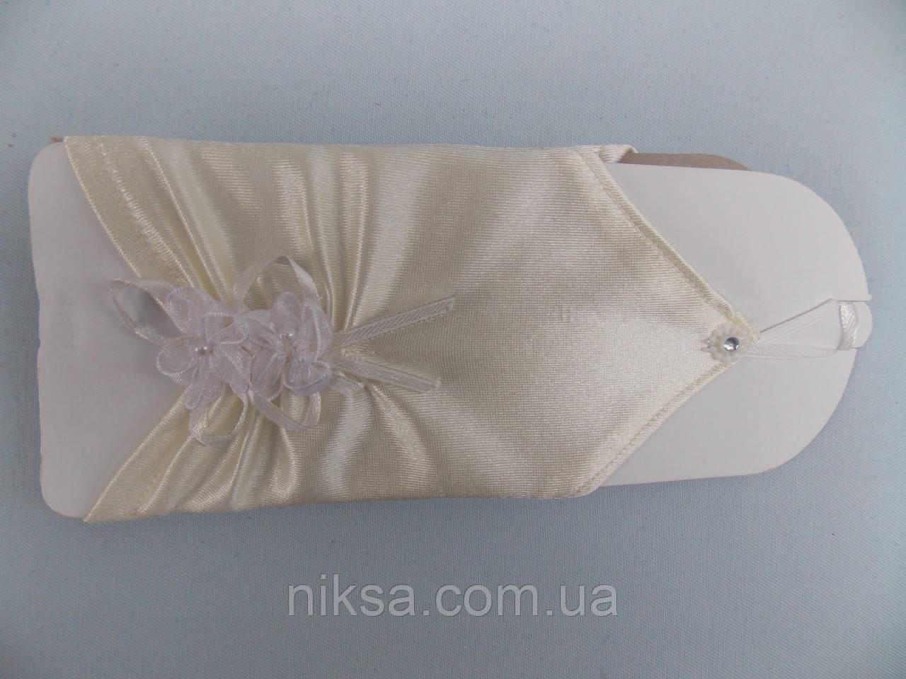 Перчатки атласные короткие без пальцев свадебные молочные