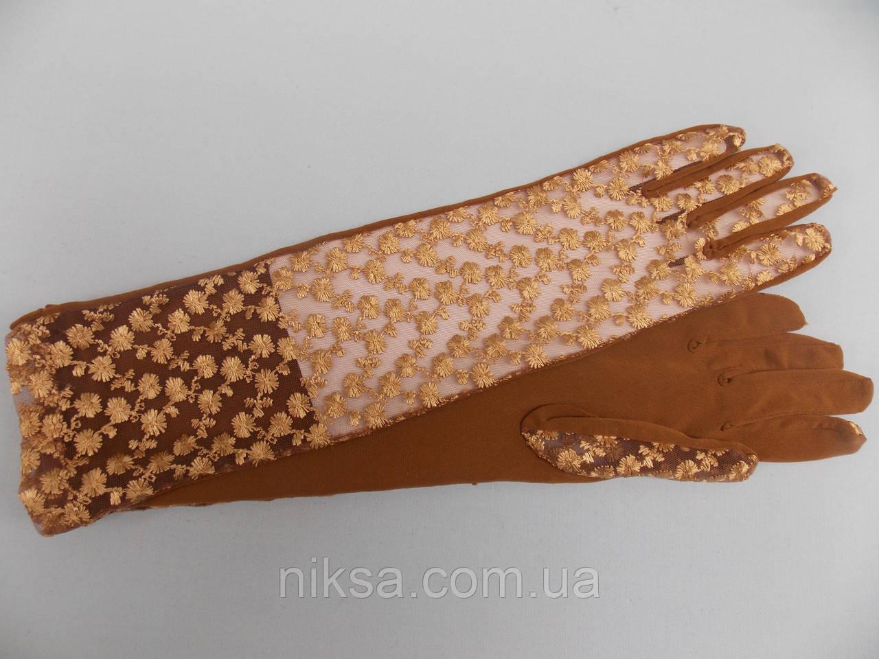 Перчатки гипюровые+атлас длинные