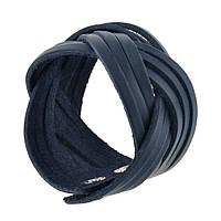 Браслет кожаный синий косичка (ручная работа), фото 1