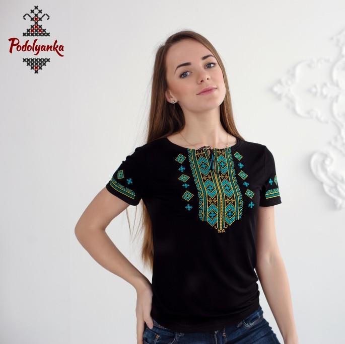 Жіноча вишита футболка Гуцульська бірюзова  продажа 9ee5237551a09