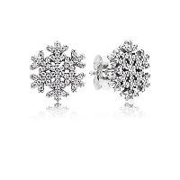 Серьги-пусеты снежинки из серебра 925 пробы