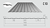 Профнастил стеновой C-10 1200/1150 с цинковым покрытием 0,45мм