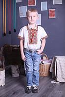 """Вышиванка для мальчика """"Украинский"""" с коротким рукавом лён ( арт. BX3-401.6.11 ), фото 1"""