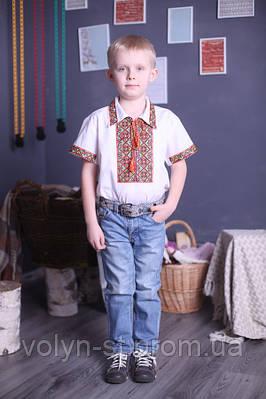 """Вышиванка для мальчика """"Украинский"""" с коротким рукавом лён ( арт. BX3-401.6.11 )"""