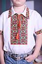 """Вышиванка для мальчика """"Украинский"""" с коротким рукавом лён ( арт. BX3-401.6.11 ), фото 2"""
