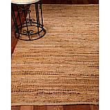 Бежево пісочний в'язаний килим зі шкіри та замші, фото 2