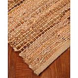Бежево пісочний в'язаний килим зі шкіри та замші, фото 4