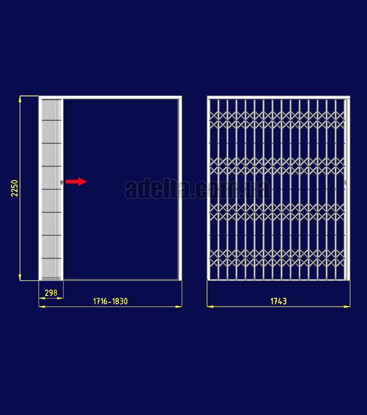Раздвижная решетка на дверь Шир.1743*Выс2250мм, S=3,92кв.м.