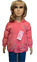 Детская Куртка на флисе на девочку 1-3 года Вышивка розовая