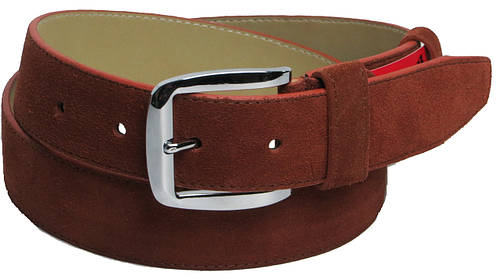 Ремень мужской замшевый под брюки Skipper 5493 коричневый ДхШ: 115х3,5 см.
