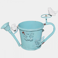 Декоративное кашпо-лейка Птички 20,5 см, голубой антик