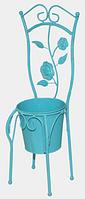 Декоративное кашпо-стульчик 45 см, голубой антик