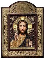 Набор с фигурной рамкой для вышивания бисером икона Христос спаситель СН8001