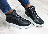 Кроссовки кожаные Nike Air Force высокие черные