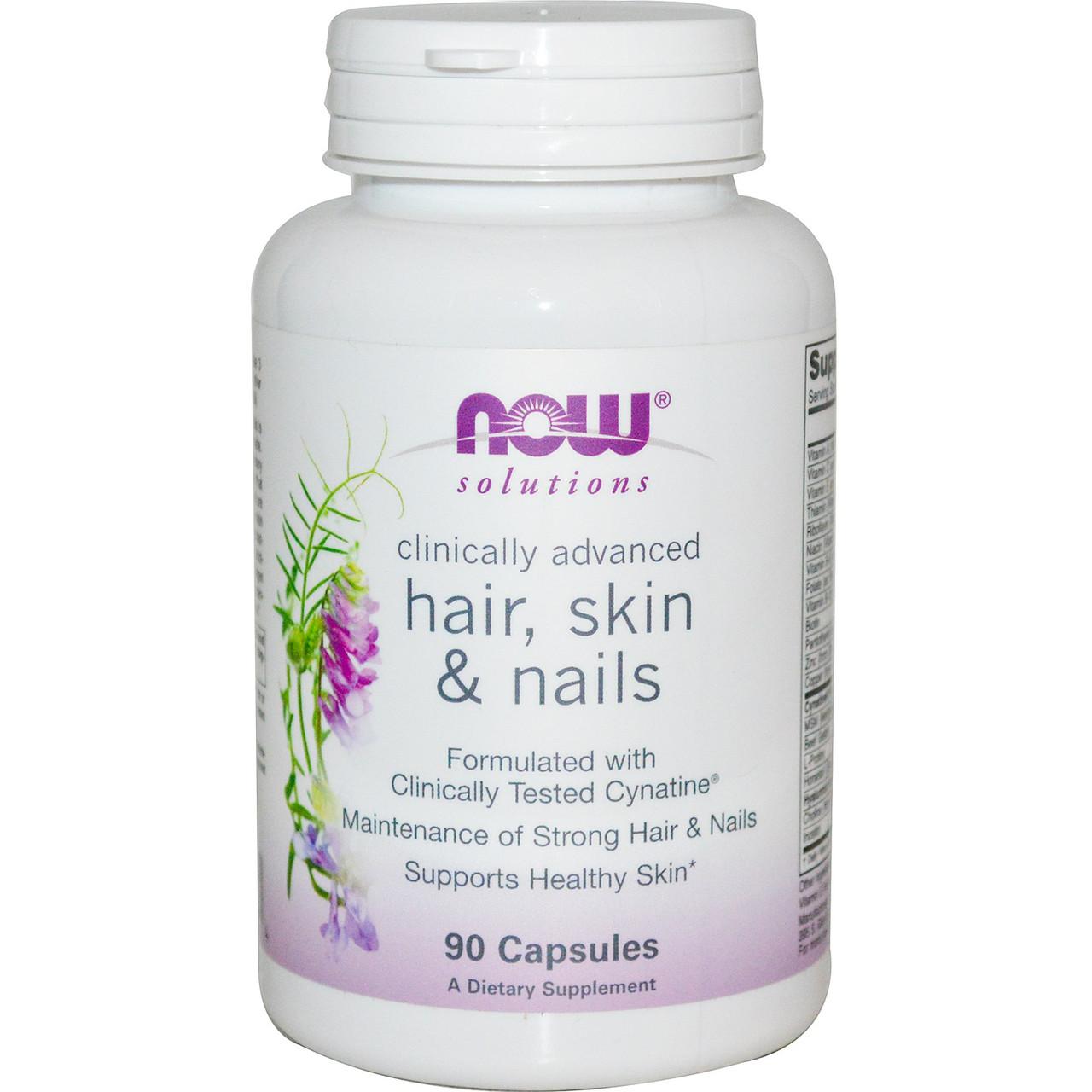 Витаминные и минеральные комплексы NOW Hair  Skin Nails  90 caps