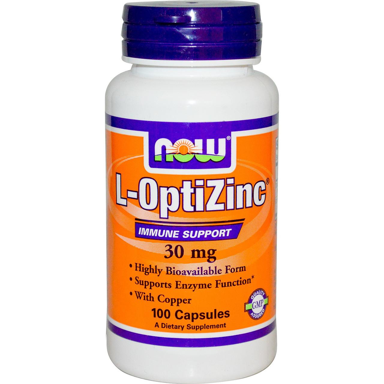 Специальные препараты NOW L-OptiZinc 30 mg  100 caps