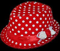 Шляпа челентанка цветы х/б горох белый на красном