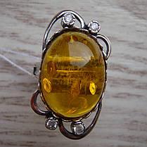 Серебряный женский перстень с янтарем и фианитами, фото 3