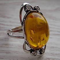 Серебряный женский перстень с янтарем и фианитами, фото 2