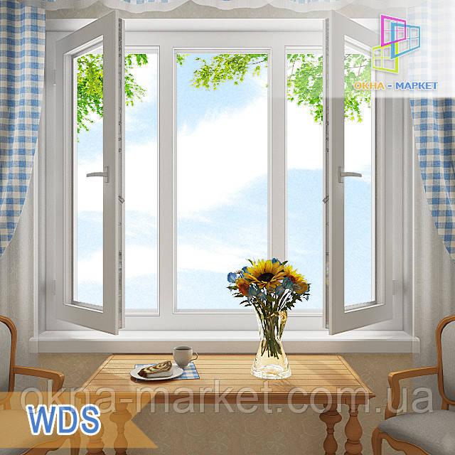 "Трехстворчатое ПВХ окно 1800x1400 с двумя поворотно-откидными створками ВДС ""Окна Маркет"""