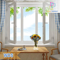 "Трехстворчатое ПВХ окно 1800x1400 с двумя поворотно-откидными створками ВДС ""Окна Маркет"", фото 1"