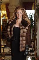 Шуба полушубок из куницы и норки Pine bob marten fur jacket with mink collar and sleeves