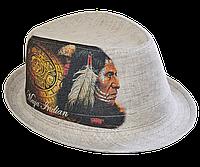 Шляпа челентанка фотопринт лен индеец Майя