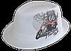 Шляпа челентанка фотопринт лен белый Мото 66
