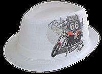 Шляпа челентанка фотопринт лен Мото 66