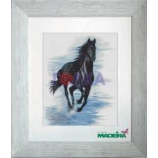 """Набор для вышивания нитками  """"Чорный конь"""", фото 2"""
