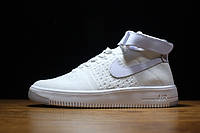 Женские кроссовки Nike Flyknit Air Force 1 Ultra White, найк аир форс