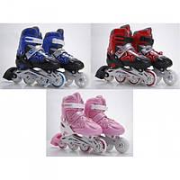 Роликовые коньки  размер  31-34, пласт.рама, колеса свет, PVC, в сумке