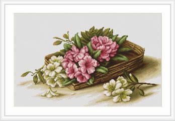 """Набор для вышивания нитками  """"Цветы азалии в корзине"""", фото 2"""