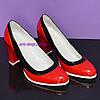 Женские туфли из натуральной лаковой кожи на высоком каблуке, цвет красно-черные, фото 4