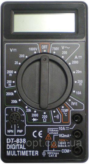 Мультиметр цифровой DT-838, щупы, тестер