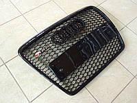 Решетка радиатора RS6 на Audi A6 2008-2012 (черная с черной окантовкой)