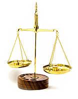 Весы Бронзовые На Деревянной Подставке (50 Гр.)(20,5х8х13 См)