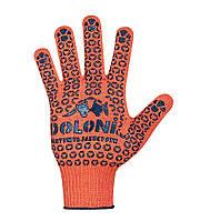 Перчатки DOLONI №526 Х/Б Оранжевые 10 класс                                                         , фото 1